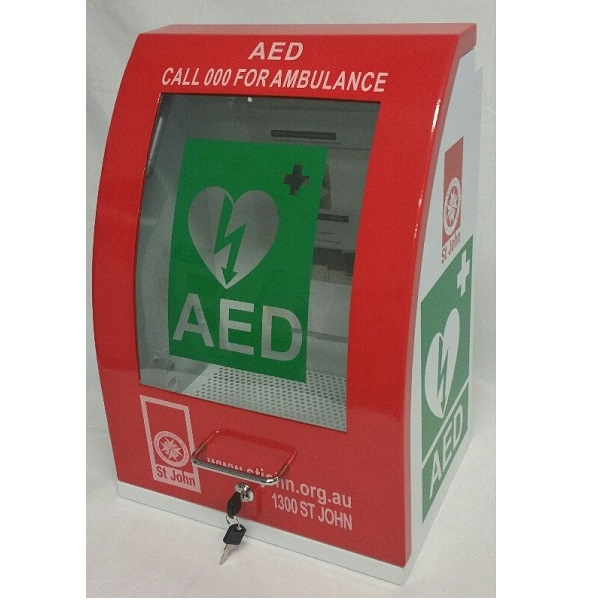Curved Red Defibrillator Cabinet ...